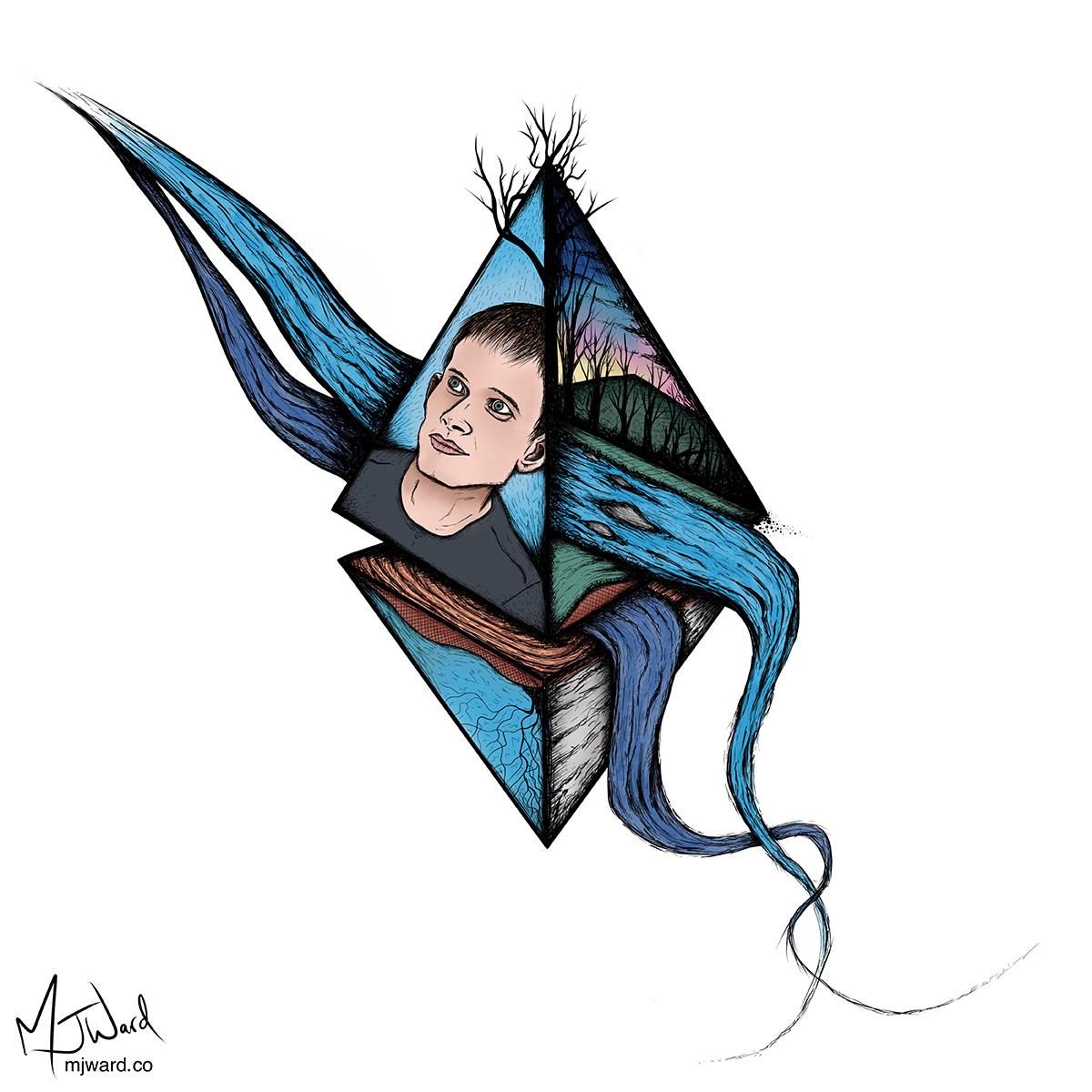 Ethereum and Vitalik Buterin Digital Artwork