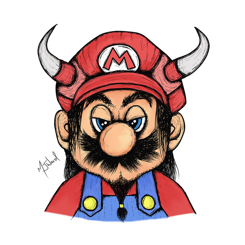Viking Mario Drawing